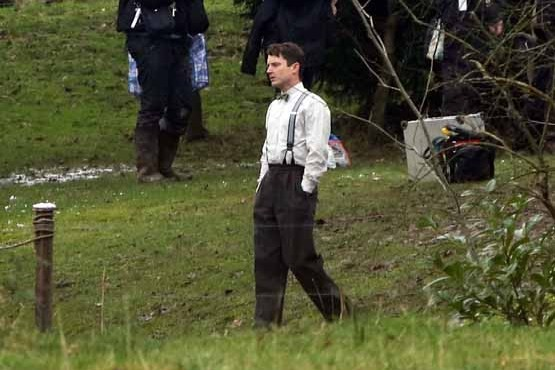 "Filming of ""Set Fire to the Stars"" a film about Swansea born poet and author Dylan Thomas in a secret location in the Gower Peninsula, south Wales, starring Elijah Wood and Celyn Jone"